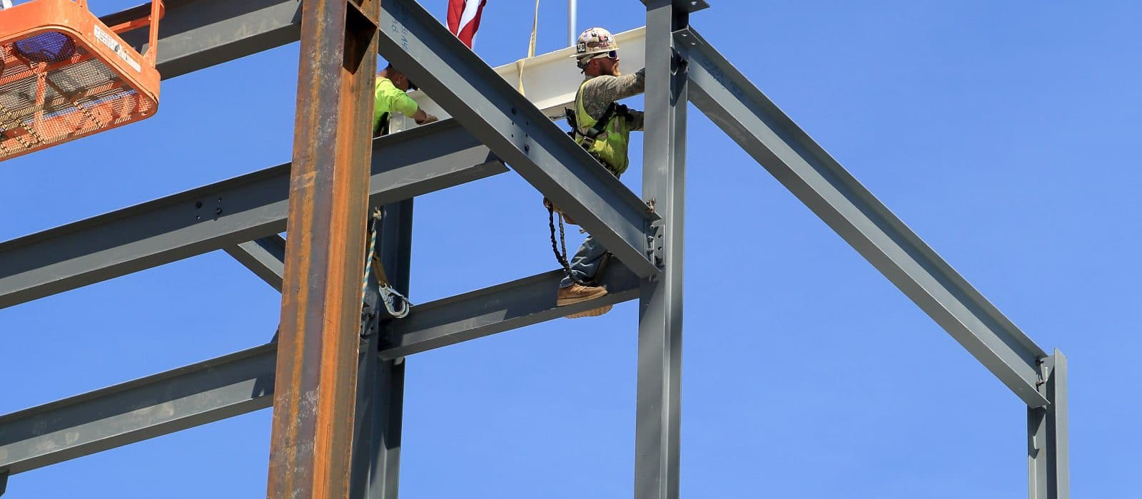 PSU- Agricultural Engineering Building steel frame with American flag